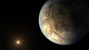 This artist's rendering provided by NASA shows an Earth-sized planet dubbed Kepler-186f orbiting a star 500 light-years from Earth.