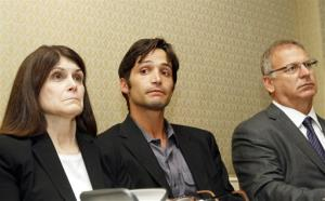 Plaintiff Michael Egan III, center, 31, his mother Bonnie Mound, left, and attorney Jeff Herman take questions during a news conference in Beverly Hills, Calif., Monday, April 21, 2014.