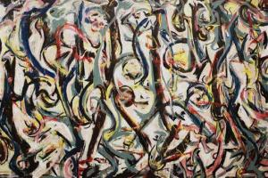 "A detail of Jackson Pollock's ""Mural,"" 1943, is seen during a media preview at the J. Paul Getty Museum in Los Angeles. Pollock was among the forged artists."