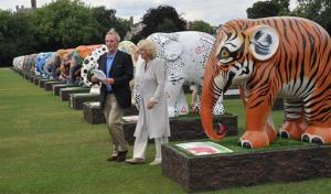 The Duchess of Cornwall walks with her brother, Mark Shand, during a visit to the Elephant Parade exhibition at the Chelsea Hospital Gardens in central London, Thursday, June 24, 2010.