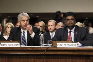 Secret Service Director Mark Sullivan, left, and Department of Homeland Security acting Inspector General Charles Edwards testify on Capitol Hill in 2012.