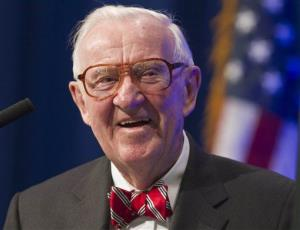 Former US Supreme Court Justice John Paul Stevens speaks at a lecture presented by the Clinton School of Public Service in Little Rock, Ark