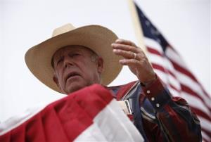 Rancher Cliven Bundy speaks at a protest camp near Bunkerville, Nev., last week.