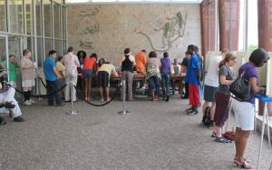 Voters wait in line at the Municipal Building in Milwaukee in this file photo.