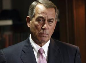 Boehner meets reporters following a Republican strategy meeting yesterday.