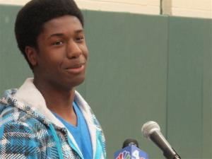 Kwasi Enin speaks at a news conference at William Floyd High School in Mastic Beach, NY yesterday.