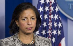National Security Adviser Susan Rice listens to reporters questions, Friday, March 21, 2014, in the Brady Press Briefing Room of the White House in Washington.