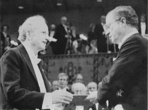 This Dec. 10, 1992 photo shows Becker, left, receiving the 1992 Nobel Economics Prize from Sweden's King Carl Gustaf.