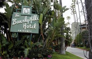 The entrance to the Beverly Hills Hotel is seen in Beverly Hills, Calif.