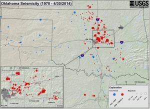This USGS map shows seismic activity in Oklahoma from 1970 to last week.