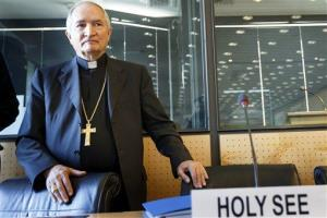 Archbishop Silvano M. Tomasi, Apostolic Nuncio, Permanent Observer of the Holy See (Vatican) to the Office of the United Nations in Geneva, arrives at the hearing.