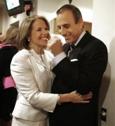Katie Couric embraces her former Today co-host Matt Lauer while visiting the program in New York Wednesday, May 28, 2008.