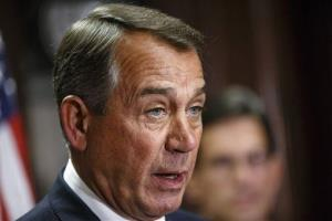 This April 29, 2014 file photo shows House Speaker John Boehner of Ohio speaking on Capitol Hill in Washington.