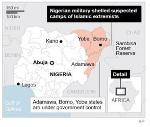 Map locates Sambisa Forest Reserve, Nigeria