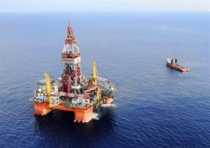 China's deep-water drilling rig is seen in the South China Sea.