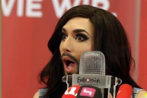 Austrian singer Conchita Wurst attends a press conference in Vienna, Austria Sunday May 11, 2014.
