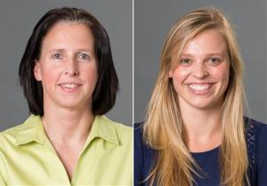 This combination made with photos provided by the University of Richmond shows associate head coach Ginny Doyle, left, and director of basketball operations Natalie Lewis.