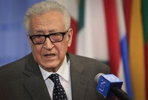 Lakhdar Brahimi, UN and Arab League Special Envoy to Syria, speaks during a news conference after closed meetings in the UN Security Council, Tuesday, May 13, 2014.