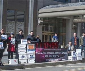 Demonstrators call for net neutrality in this Jan. 30, 2014 file photo.