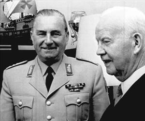 Albert Schnez, left, was a central player in the plan to create a secret army.