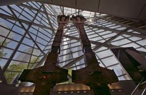 A pair of World Trade Center tridents, that once formed part of the exterior structural support of the east facade of the building, are displayed at the National Sept. 11 Memorial Museum.