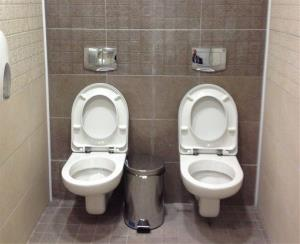 Toilets at the cross-country skiing and biathlon center in Sochi, Russia.