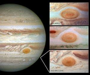This composite handout image provided by NASA, taken by the Hubble Space Telescope, shows the Great Red Spot in 2014, left; in 1995, top right; 2009, center right; and 2014, bottom right.