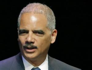 This April 17, 2014 file photo shows Attorney General Eric Holder speaking in Overland Park, Kansas.