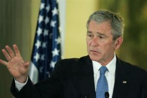 President George W. Bush speaks at a news conference Wednesday, Jan. 9, 2008.