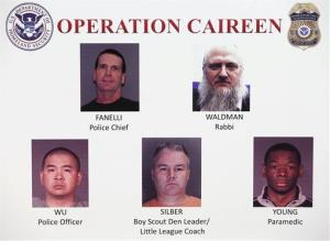 Photos of some of the 71 individuals arrested are displayed, as part of Operation Caireen.