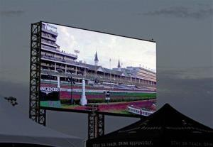 A new video screen is seen at Churchill Downs in Louisville, Ky.
