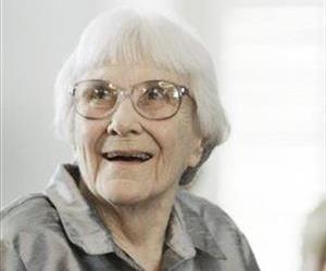 In this 2007 file photo, author Harper Lee smiles during a ceremony honoring the four new members of the  Alabama Academy of Honor at the Capitol in Montgomery, Ala.