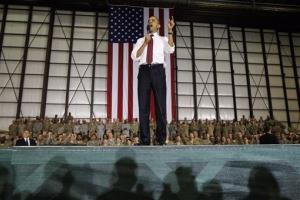 This May 2, 2012 file photo shows President Obama addressing troops at Bagram Air Field, Afghanistan.
