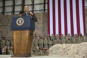 President Barack Obama speaks during a troop rally after arriving at Bagram Air Field for an unannounced visit, on Sunday, May 25, 2014, north of Kabul, Afghanistan.
