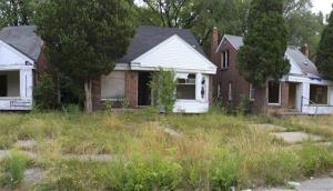 This 2012 photo shows vacant homes in northeast Detroit.