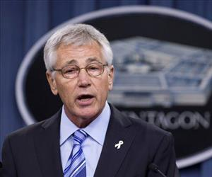 In this May 1, 2014 file photo, Defense Secretary Chuck Hagel speaks to reporters at the Pentagon.