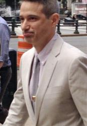 Beastie Boys rapper Adam Ad-Rock Horovitz leaves federal court in Manhattan after testifying at a copyright trial Tuesday, May 27, 2014, in New York.