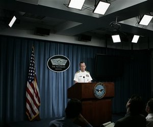 Joint Chiefs Chairman Adm. Michael Mullen speaks during a news conference at the Pentagon, Friday, April 25, 2008.