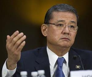 This May 15, 2014 file photo shows Veterans Affairs Secretary Eric Shinseki testifying on Capitol Hill.