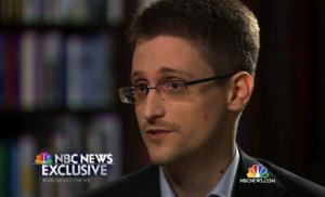 In this image taken from video provided by NBC News on Tuesday, May 27, 2014, Edward Snowden speaks to NBC News anchor Brian Williams.