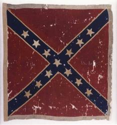 The Confederate flag of the 7th Virginia Infantry Army of Northern Virginia Obverse captured at the Battle of Gettysburg, Pa., in July 1863.