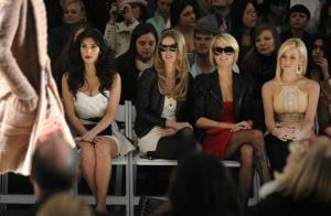 From left, Kim Kardashian, Nicky Hilton, Paris Hilton and singer Kellie Pickler attend the Tracy Reese Fall 2009 fashion show at Bryant Park, in New York, on Monday, Feb. 16, 2009.