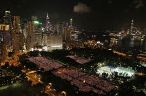 Tens of thousands of people attend a candlelight vigil at Victoria Park in Hong Kong to mark the 25th anniversary of the June 4th Chinese military crackdown on the pro-democracy movement in Beijing.