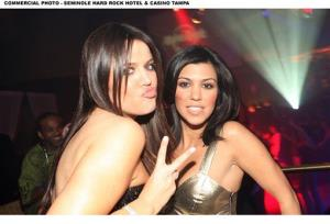 Khloe Kardashian and Kourtney Kardashian attend the Seminole Hard Rock Revolution Party at the Seminole Hard Rock Hotel and Casino, Friday, Jan. 30, 2009 in Tampa, Florida.