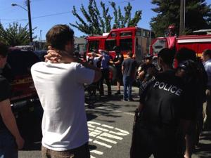 Emergency personnel arrive on the scene at Seattle Pacific University.