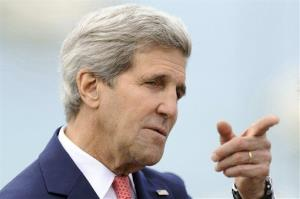 US Secretary of State John Kerry takes part in a ceremony in Saint Briac sur Mer, western France, Saturday, June, 7, 2014.