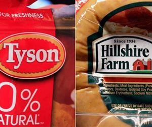 This file photo combo shows a package of frozen Tyson Chicken Nuggets, left, and a package of Hillshire Farm sausage, in Palo Alto, Calif.
