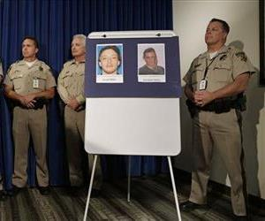 Pictures of suspects Jerad Miller and Amanda Miller are on display during a news conference, Monday, June 9, 2014, in Las Vegas.