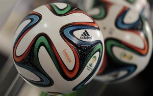 The Adidas logo is printed on the Brazuca, the official FIFA World Cup 2014 soccer ball.