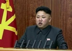 In this image taken from video on Wednesday, Jan. 1, 2014, Kim Jong Un delivers an annual New Year's Day message in Pyongyang, North Korea.